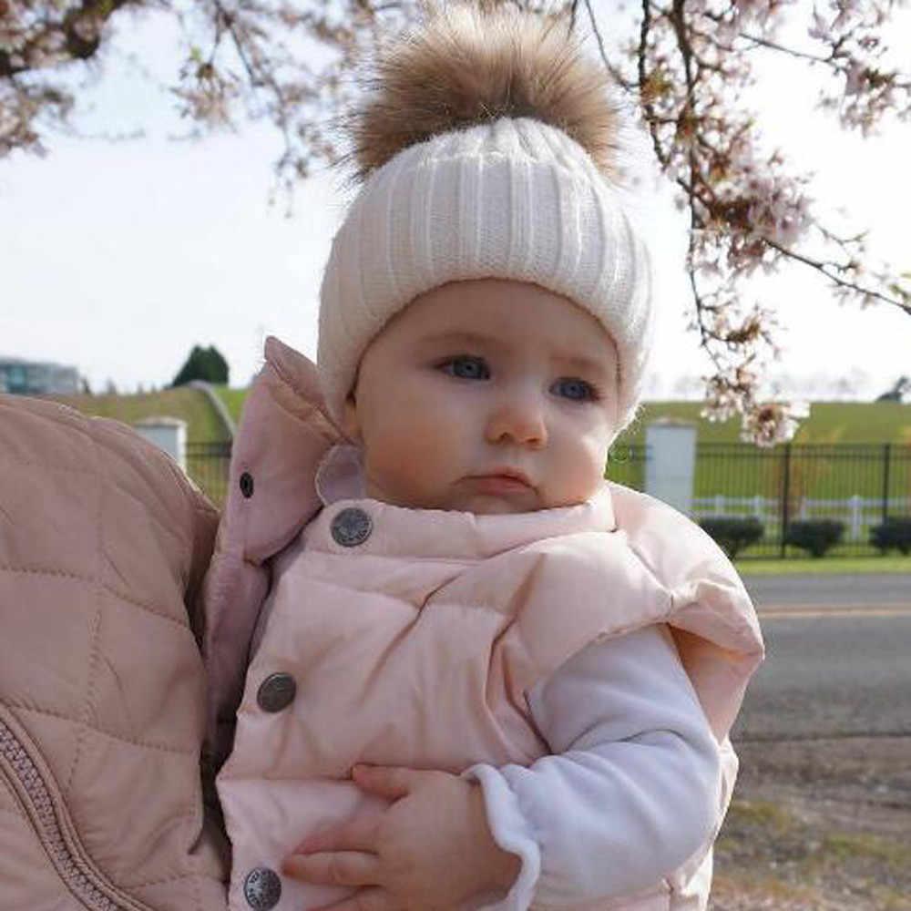 ทารกแรกเกิดน่ารักเด็กทารกเด็กหญิงฤดูหนาว Warn หมวกเด็กหมวกถัก Hemming หมวกสำหรับ 0- 36 เดือน #30