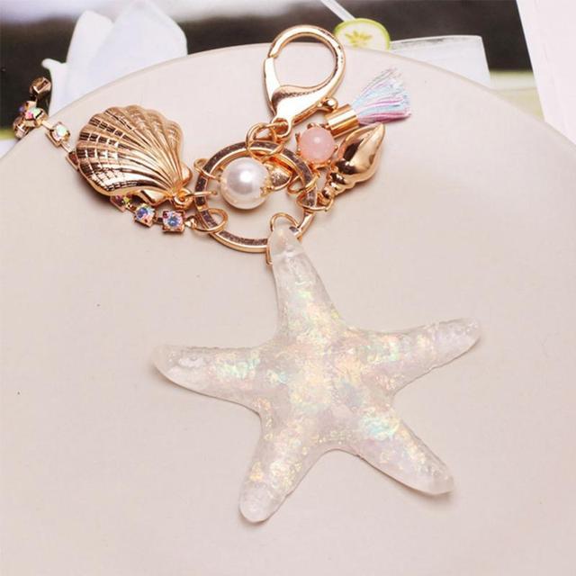 Cartoon Sea World Starfish Pearl Shell Key Chain KeyRing Crystal Pendant Keychain Women Gift