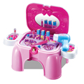 2017 Juguetes Kids Kitchen New Beautiful Happy Girl Makeup Dressing Table Stool Chairs Game Play House Toys For Children Gift