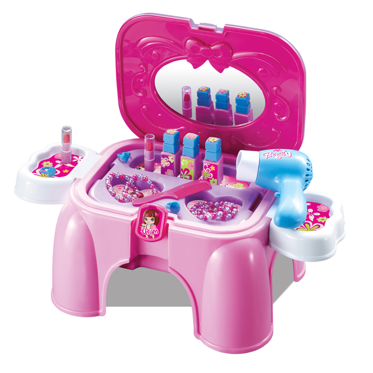 2017 Juguetes Kids Kitchen New Beautiful Happy Girl Makeup Dressing Table Stool Chairs Game Play House