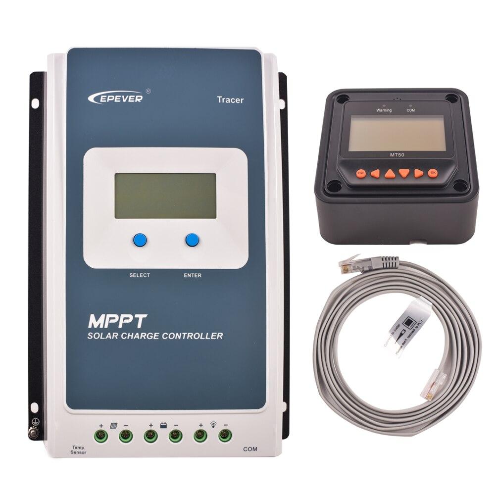 Traceur 2210AN 20A MPPT contrôleur de Charge de batterie solaire 12 V 24 V régulateur solaire LCD lumière et minuterie contrôle de Charge avec MT50