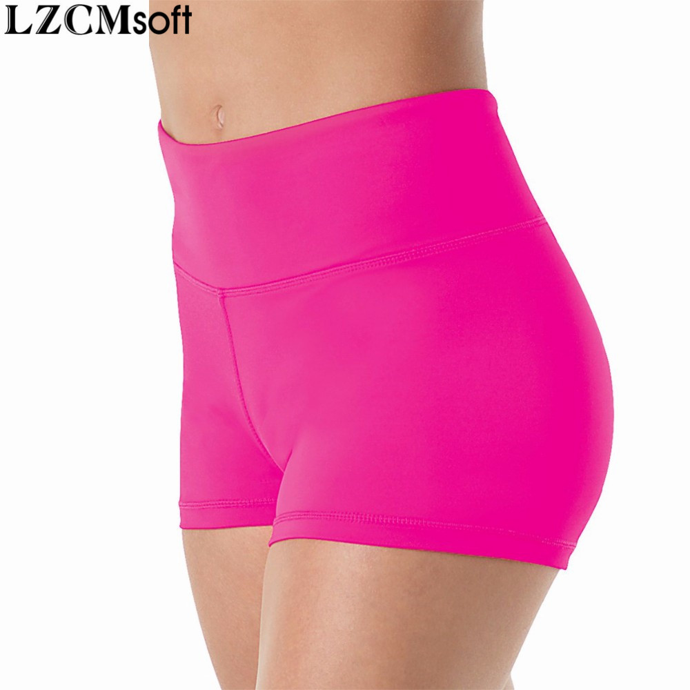 LZCMsoft Womens Skinny Dance Shorts Spandex Lycra High Waist Workout Gymnastics Shorts Girls Stage Performance Shorts Dancewear