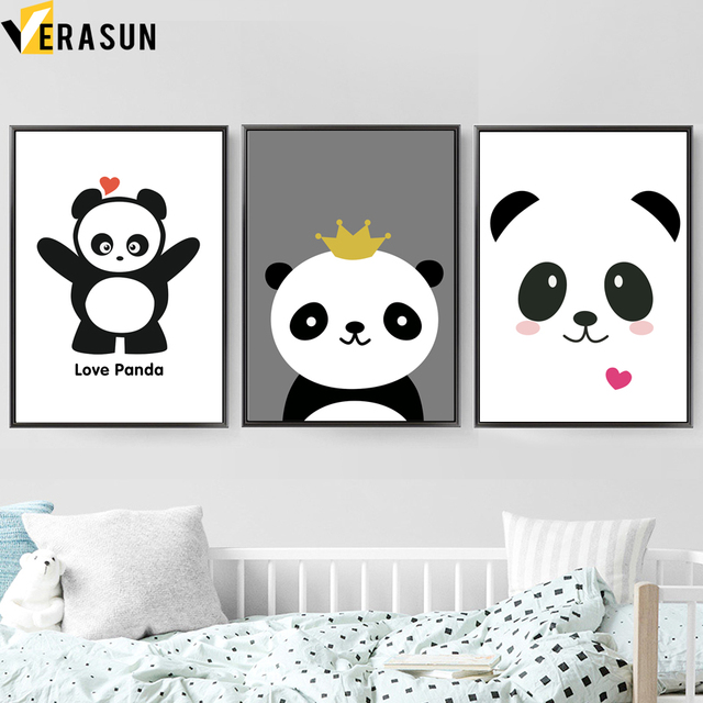 cartoon love panda quotes wall art canvas painting nordic posters