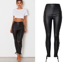 European&American high-waisted stretch leather pants Chic bandage PU pencil Fashion womens slim fit trousers