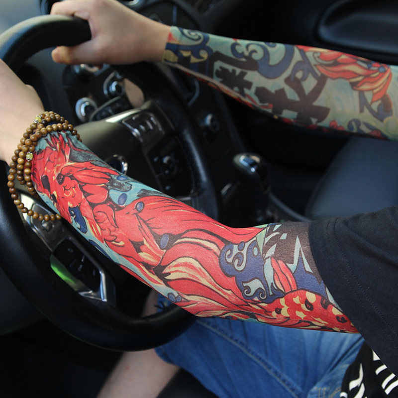 2pcs COOL Racing Car Driver Styling Tattoo Sleeves Elastic Breathable Sunburn Prevention Accessories DROP SHIPPING OK