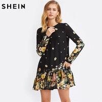 SHEIN Bow Tied Back Drop Waist Casual Botanical Dress Short Dresses Autumn Black Long Sleeve Floral Straight Dress