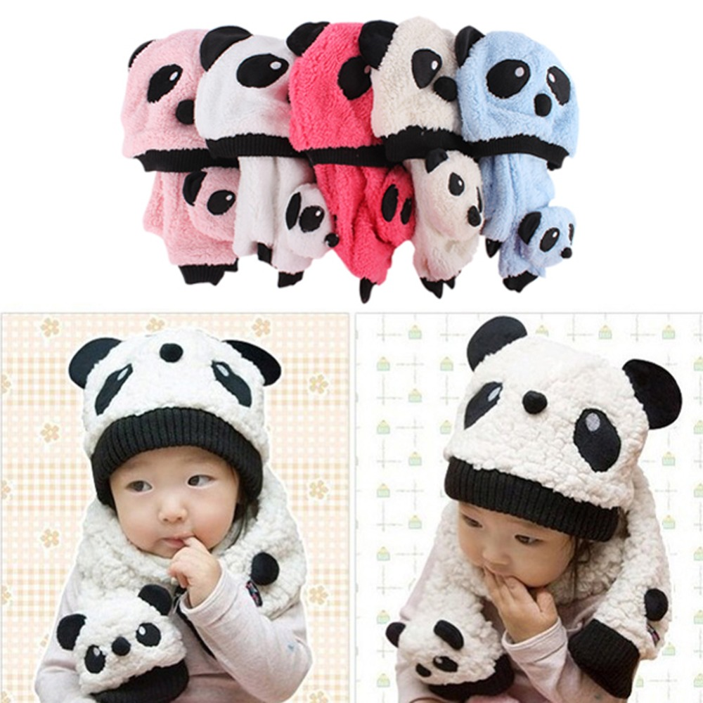Baby Kids Winter Warmer Cartoon Panda Scarf Beanie Hat + Cap Neckerchief Set 1-3 Y