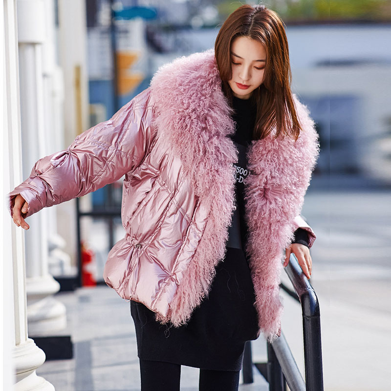 Women's Winter Silver White Duck Down Jacket Glossy New 2019 Big Real Fur Collar Pink Blue Warm Parkas For Female Short Coats