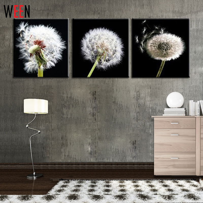 3 pieces dandelion picture large canvas art cheap home for Cheap home accessories