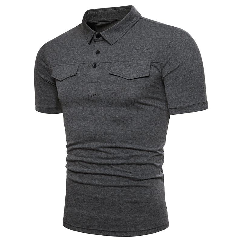 FFXZSJ 2018 Män Summer Short Sleeved Solid Color Pikétröjor Man - Herrkläder - Foto 2