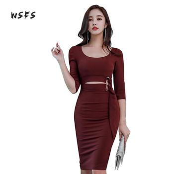 40005184f51 Wsfs зимние платья Для женщин цвет красного вина Oneck Половина ...
