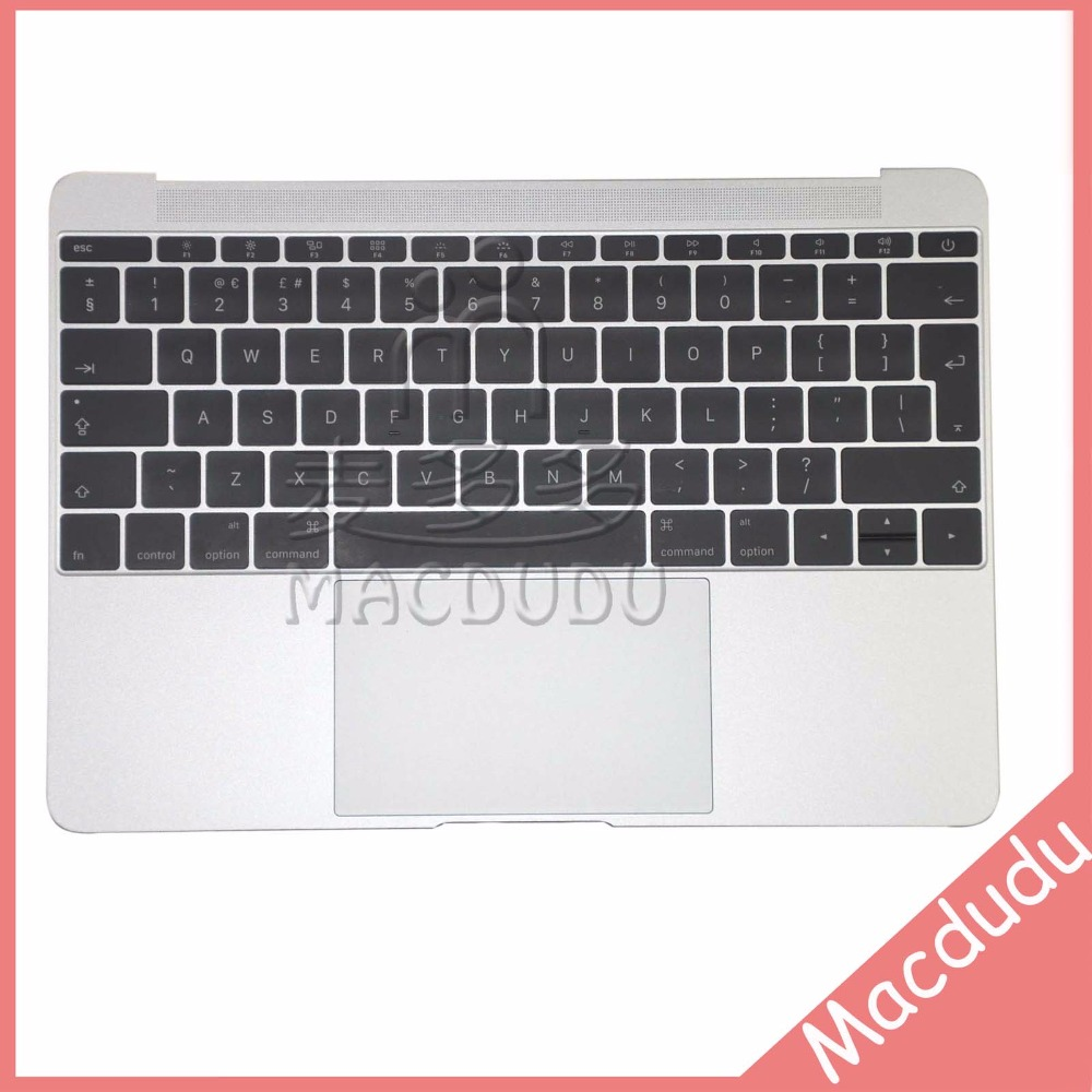 Silver UK A1534 Top case With Keyboard 2015 Year For Macbook Retina A1534 Palmrest Top Case Topcase original used a1534 12 palm rest 2016 year for macbook air retina grey a1534 palmrest top case topcase us keyboard replacement