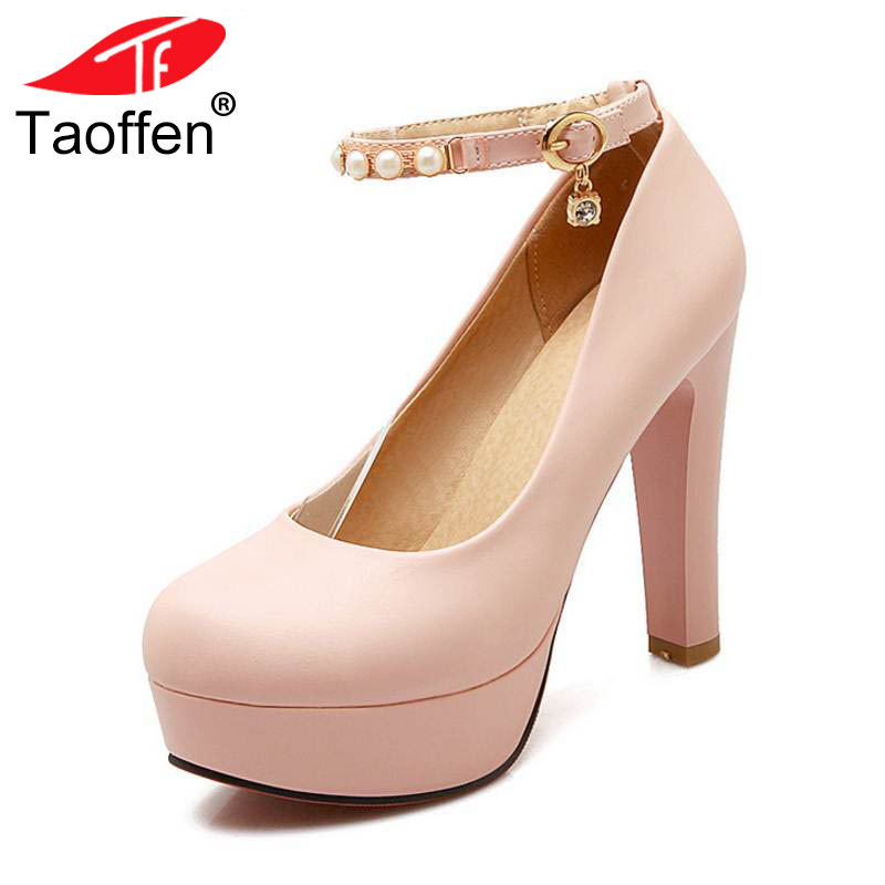 TAOFFEN size 32-43 women gentelwomanly party shoes platform ankle strap high heel pumps heeled sexy heels footwear P23151 taoffen women high heels shoes women thin heeled pumps round toe shoes women platform weeding party sexy footwear size 34 39