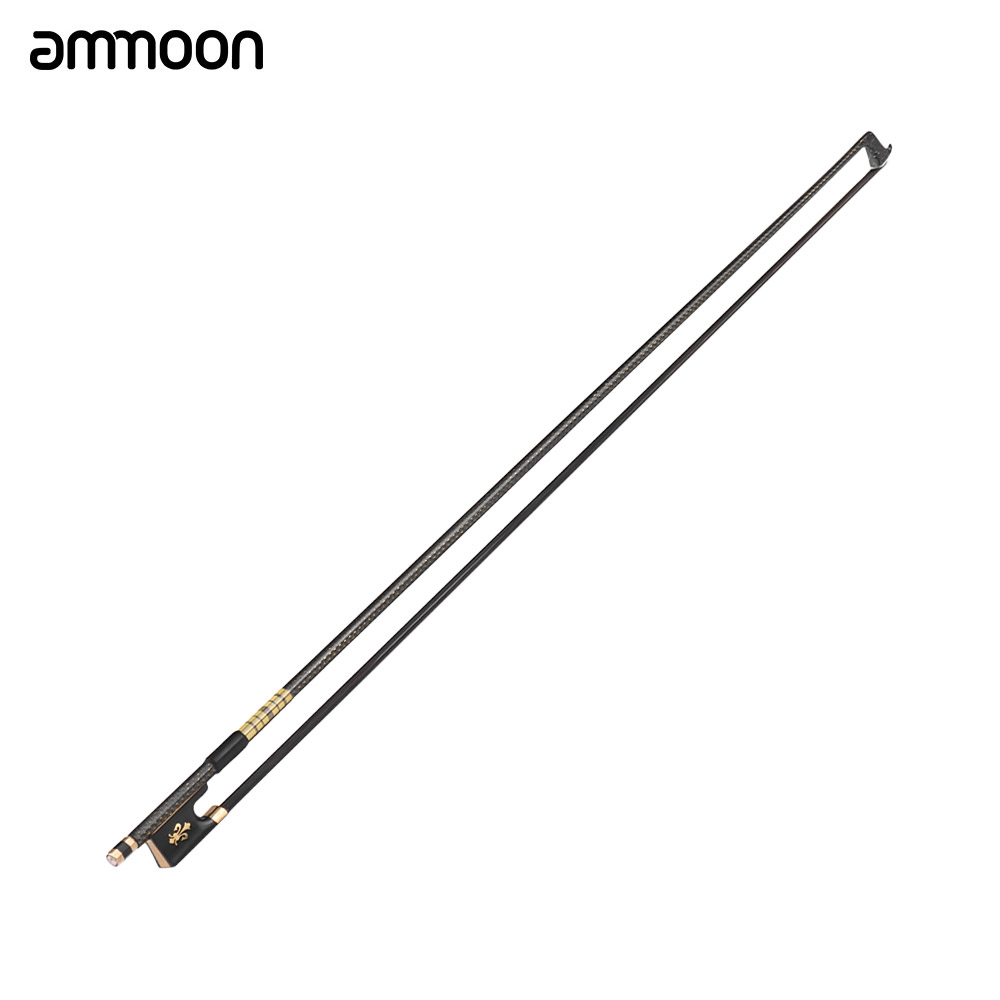High quality ammoon 4/4 Violin Fiddle Bow Well Balanced Golden Braided Carbon Fiber Round Stick Ebony Frog Mongolia HorsehairHigh quality ammoon 4/4 Violin Fiddle Bow Well Balanced Golden Braided Carbon Fiber Round Stick Ebony Frog Mongolia Horsehair