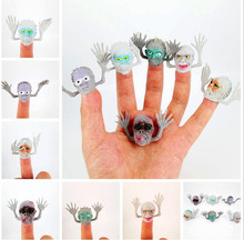 20 Pcs/Lot Cute Ghost head Finger Puppet Biological Animal Plush Toys For Childrens Favor Dolls PVC funny toy