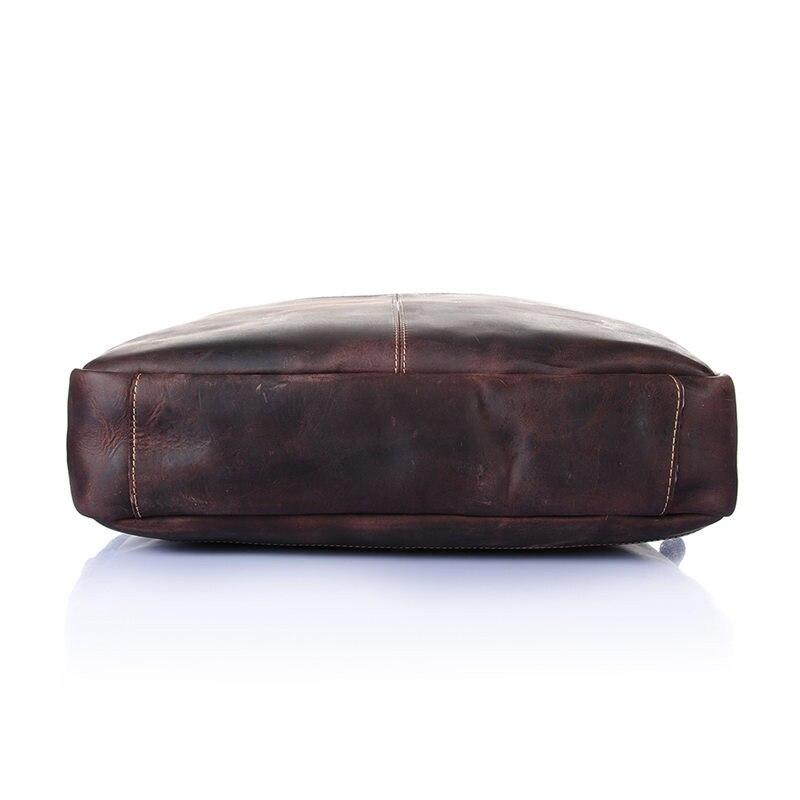 Nesitu de alta calidad Vintage marrón grueso Caballo Loco cuero hombres maletín portafolio de cuero genuino hombres bolsos de mensajero M8013 - 4