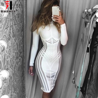 HAGEOFLY Autumn Mesh Patchwork Hollow Out Long Sleeve O Neck Knee Length Sexy Celebrity Vestidos Cocktail Party Bandage Dress