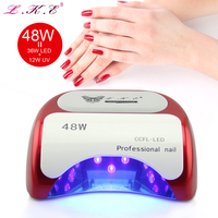 LKE Nail Dryer LED UV Lamp 48W Nail Beauty Salon Makeup Cosmetic Drying All Nail Gel Varnish Machine for Manicure Nail Art Tools