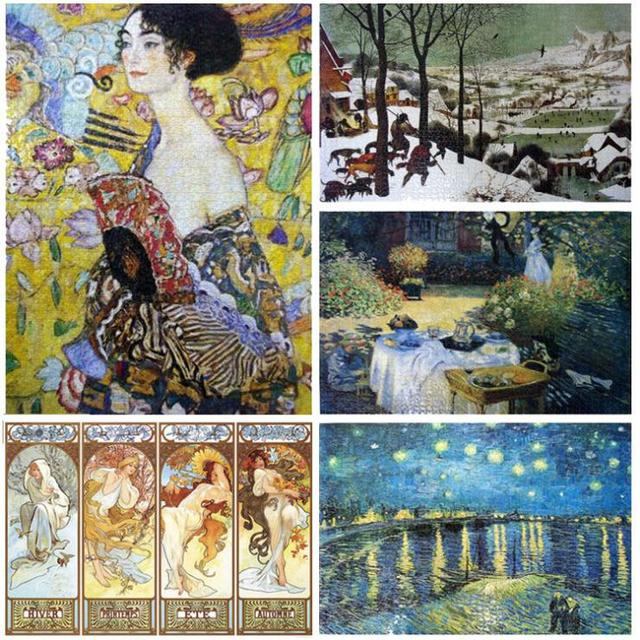 9 Types Hot Sale Free Shipping 2000 Pieces world famous Painting Adult paper Puzzle 2000 pieces for home decorating