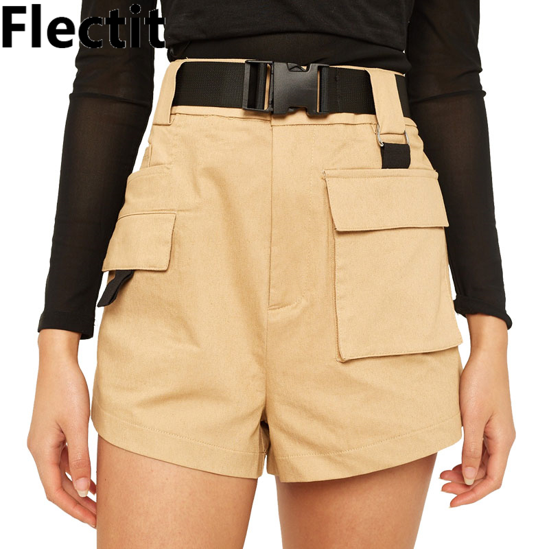 Flectit Spring Summer 2019 Utility Cargo   Shorts   Women Belted Harper   Shorts   High Waist Big Pocket Ladies   Shorts   Outfits *