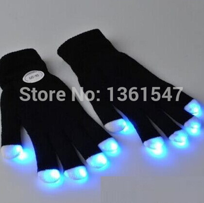 200 Pairs/lot(400pcs) Free Shipping Club Concert Dance Party Supplies Magic Finger Light Carnival Halloween Flashing LED Gloves