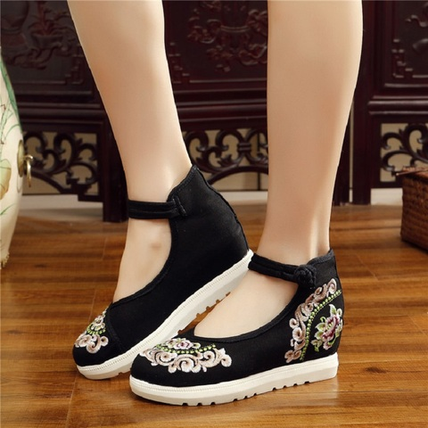 Women Canvas Increasing Height Ankle Strap Spring Autumn Shoes China Style Vintage Embroiders Wedges Heels Lady Shoes 20180907 Karachi