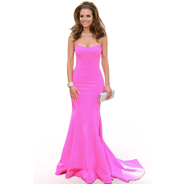 Red Carpet Maria Menounos Sweetheart Mermaid Fuchsia Evening Dresses Long  Celebrity Gowns Dresses With Court Train e58a94d116b0