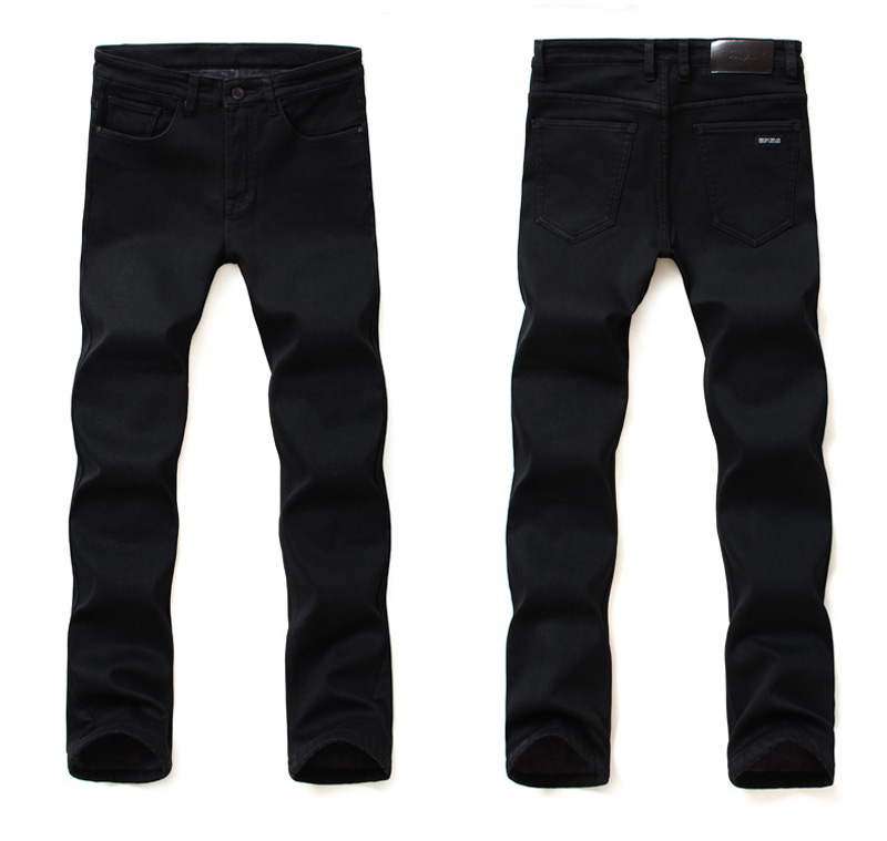 2020 New Trousers Grey Fleece Men Clothes  Black Elasticity Warm Thinker Winter Jeans Busines With Or No Velvet 2 Model Jeans 27