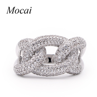 Fashion Cool Chains Ring Punk Style Silver Color Luxury Full Zircon Big Chain Rock Rings For
