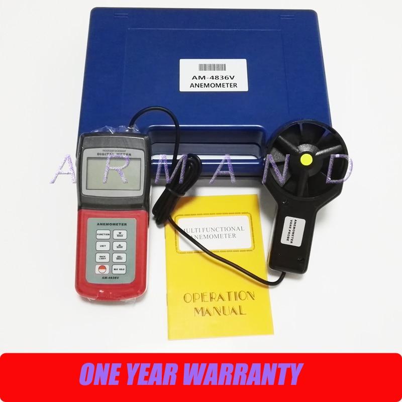 Handheld Digital Anemometer AM-4836V Air Velocity Flow Temperature measure Air Volume Wind Speed Tester 0.4~45.0 m/s