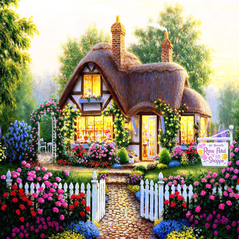 Buy Needlework 5d Diy Diamond Painting: house and garden online