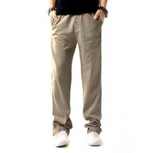 Casual Summer Cotton Full Length Mens Linen Drawstring Pants Regular High Waist  Men Masculina Male Clothing D40