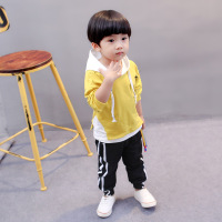 2017 Autumn Baby Boy Sets Solid Number Five Rope Pullover Hoodies With Hat Long Pants Children