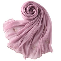New Design 100 Silk Women Scarf Floral Embroidered Long Shawl Ladies Fashion Pure Color Wraps Plus
