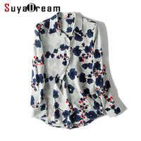 Women Silk Blouse 100% REAL SILK CREPE Vintage Floral print long sleeve button blouse shirt Blusas femininas 2019 Spring Shirt
