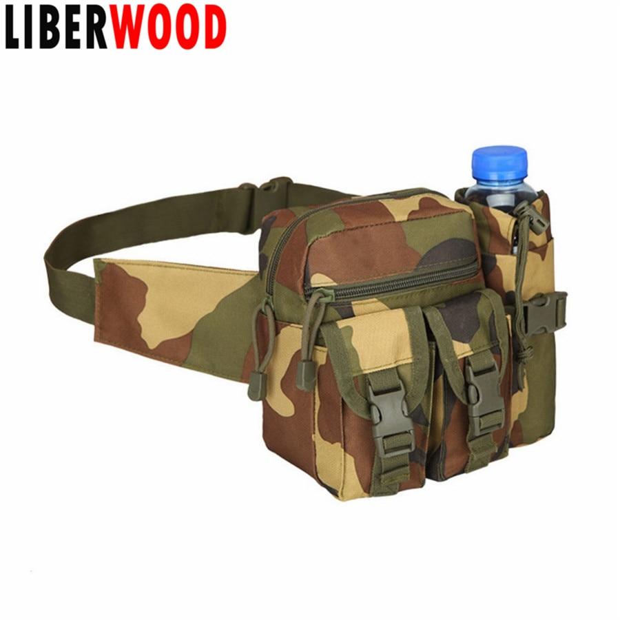 Tactical Outdoor Hiking Multifunction pockets Fanny Waist Pack Belt Water Bottle