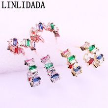8Pairs 16mm, Mix color circle geometric stud earring paved rainbow colorful cz zirconia fashion trendy women jewelry