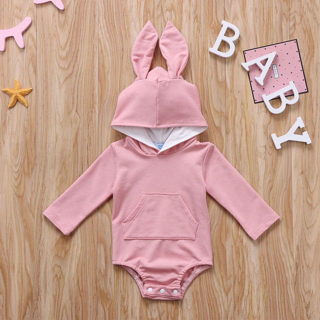 Cute Animal Rabbit Hooded Romper for Baby Boy and Girl
