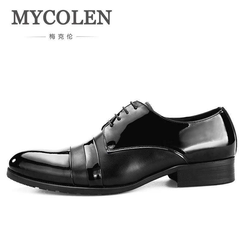 MYCOLEN Simple Design Black Men Dress Shoes Pointed Toe Lace Up Patent Leather Formal Shoes For Groom Wedding Shoes toyzy