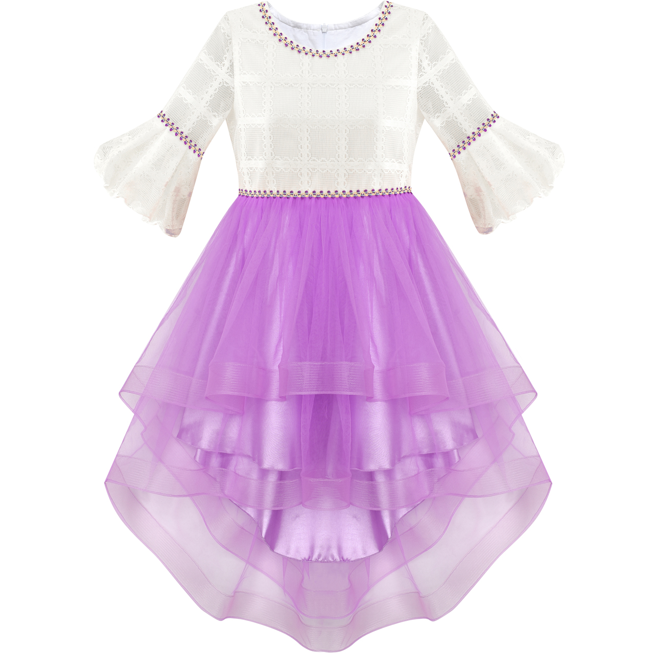 Cheap Wedding Dresses Raleigh Nc: Aliexpress.com : Buy Flower Girl Dress White And Purple Hi