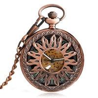 Retro Sun Design Men Pocket Watch Mechanical Self Wind Skeleton Blue Roman Numbers Fob Watches Women