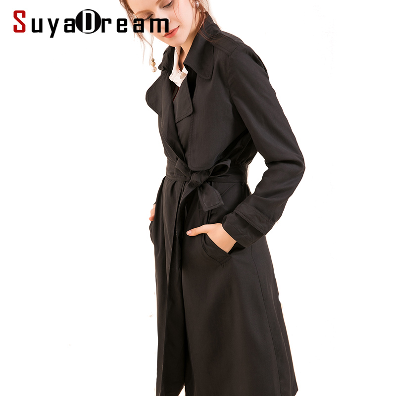 SuyaDream Women Silk Trench 100%Real Silk Black Belted Long Office Trench 2019 Autumn Winter Slashes Outer Coat