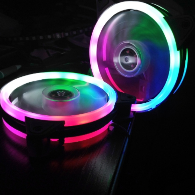 120mm Double Aperture Multicolored LED Computer Case PC Cooling Fan RGB Adjust Quiet + IR Remote Cooler Luminous Fans For CPU aigo c5 rgb adjust led 120mm quiet ir