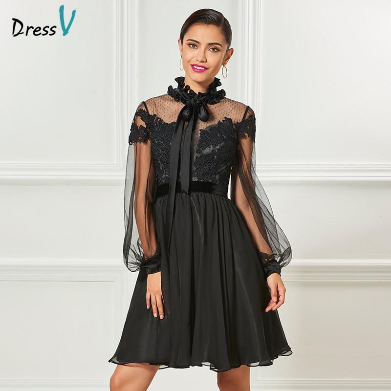 Dressv black high neck elegant cocktail dress long sleeves appliques knee length wedding party dress chiffon cocktail dresses