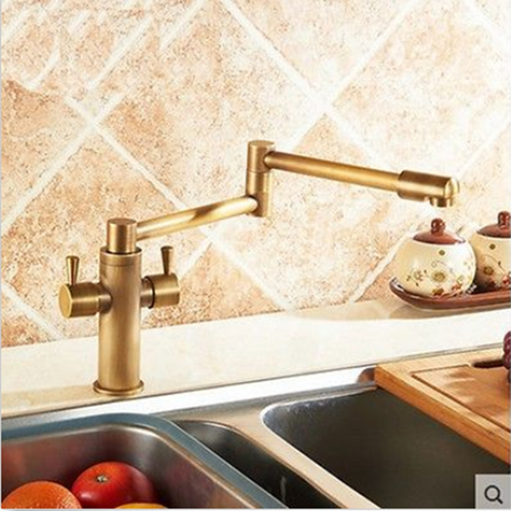 ФОТО Deck Mounted Foldable Antique Brass Kitchen Sink Faucet Hot And Cold Water Mixer