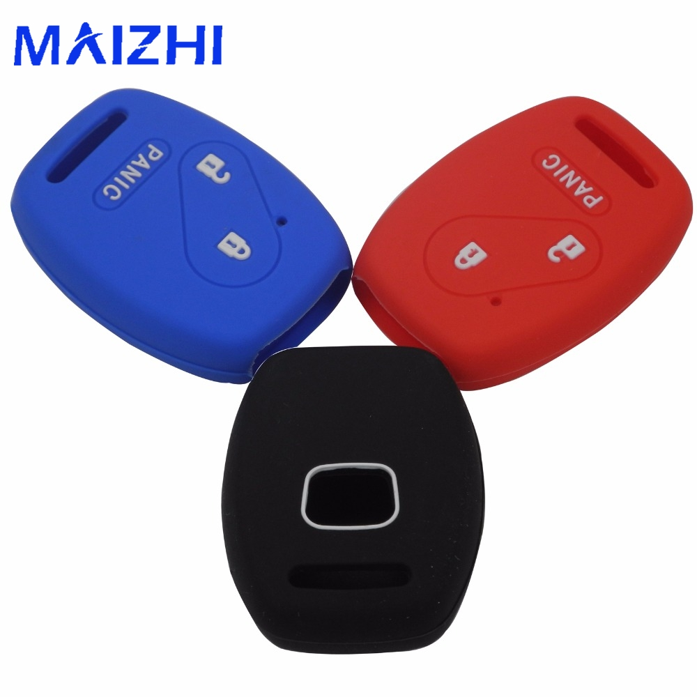 Kutery 2 Buttons+1 Panic 3 Buttons Silicone Car Key Case Key Cover For Honda FIT INSIGHT Civic Accord CR-V Ridgeline Car-styling jignyuqin 3 buttons remote key shell for honda accord insight crv civic odyssey pilot ridgeline car alarm keyless entry fob case