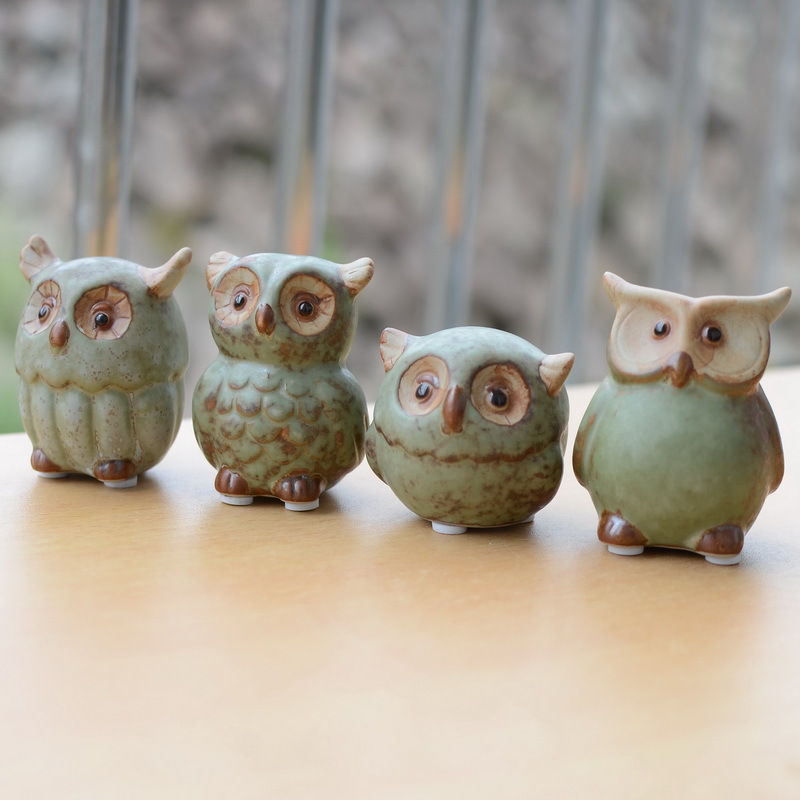 Ceramic Owl Home Decor Arts And Crafts Creative Gifts Mini Lovely Decoration Night Owl Ornaments Friend Gift 4pcs Set