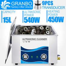 Sonic cleaner bath 15L 540W powerful ultrasonic cleaner 110V 220V temperature knob control heater and timer hospital clinic car