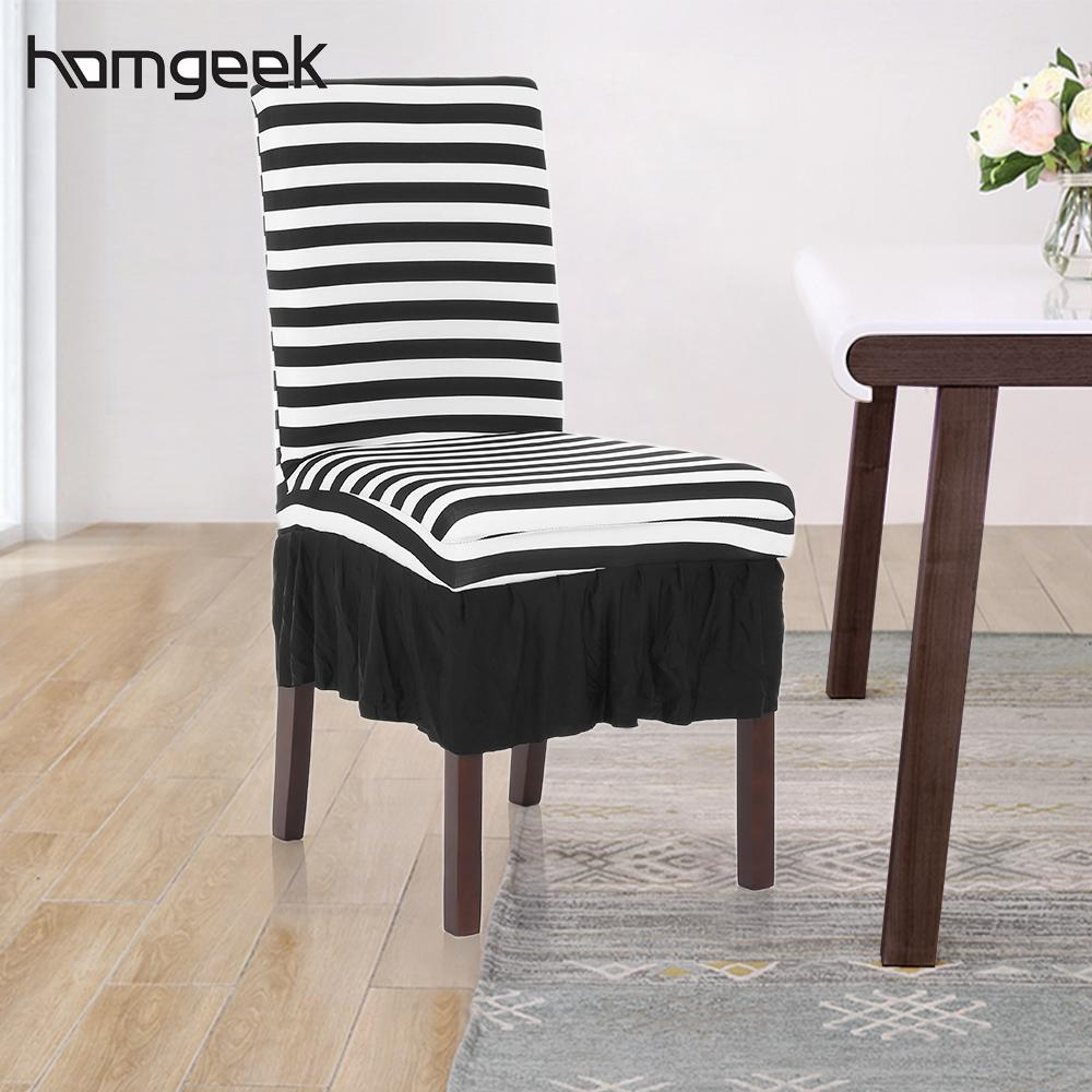 Black White Stripes Ruffled Chair Cover Stretch Removable Washable Dining Classic Stripe Spandex Seats