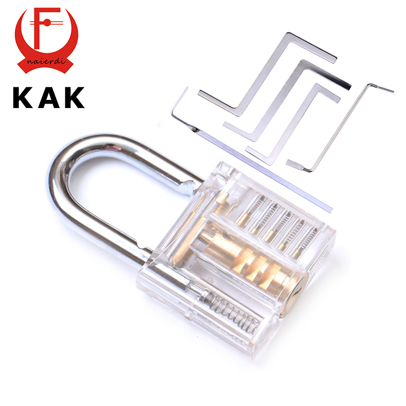 KAK Mini Transparent Visible Pick Cutaway Practice Padlock Lock With Broken Key Remove Hook Extractor Set Locksmith Wrench Tool hair company крем краска светло русый интенсивно золотистый 8 33 hair company inimitable color and blond lb12001 100 мл